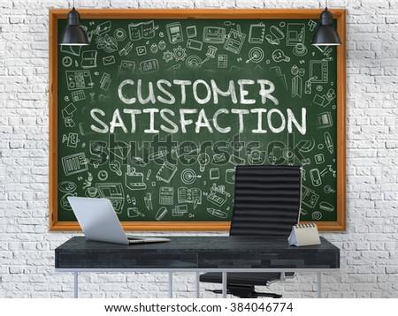 chalkboard on the office wall with customer satisfaction concept stock photo © tashatuvango