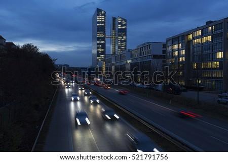 современных офисных зданий Мюнхен Германия синий час Сток-фото © haraldmuc