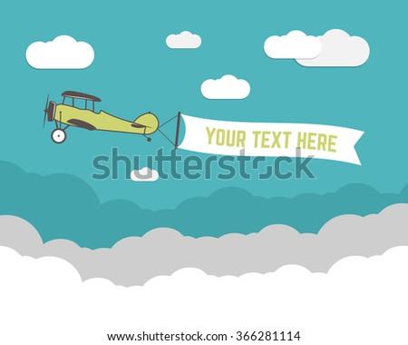 Vintage vliegtuig banner reizen infographics lege Stockfoto © JeksonGraphics