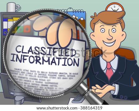classified information through magnifying glass doodle design stock photo © tashatuvango