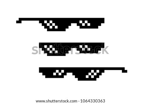 pixel glasses vector black game glasses in 8 bit style element for meme photos and pictures isola stock photo © pikepicture