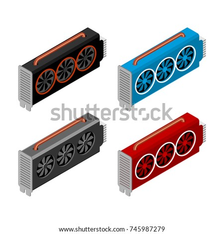 Mining video card set. Miner of GPU. Technology extraction crypt Stock photo © popaukropa