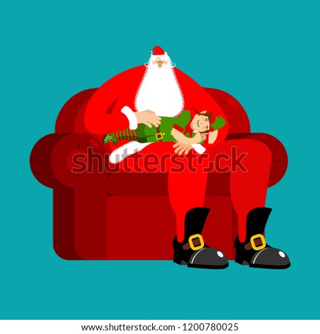Santa Claus on chair stroking elf sleep. Christmas and New Year  Stock photo © popaukropa