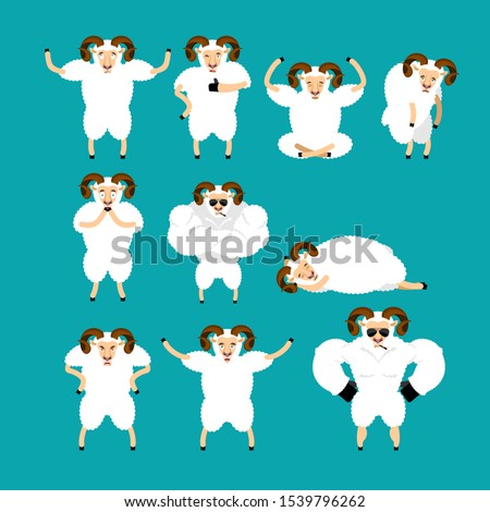 ram set poses and motion farm animal happy and yoga sheep slee stock photo © popaukropa