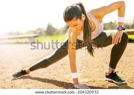 Koşucu atlet çalıştırmak açık fitness woman eğitim Stok fotoğraf © Virgin
