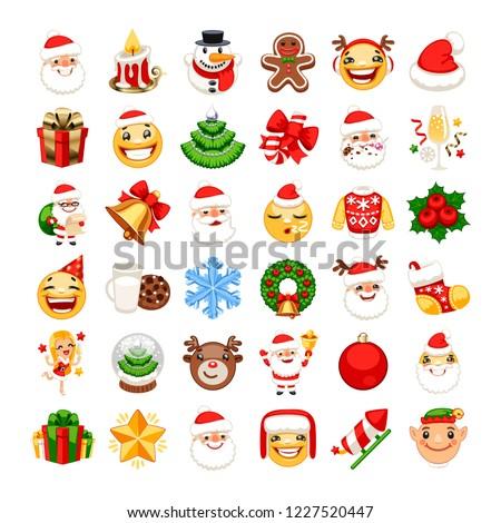 christmas tree emotions emoticons set isolated on white backgrou stock photo © rogistok