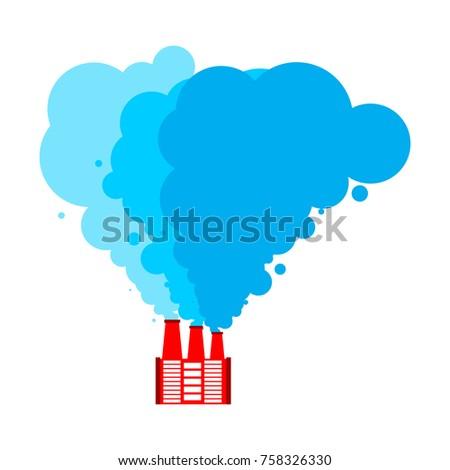 Święty mikołaj fabryki czerwony niebieski dymu christmas Zdjęcia stock © MaryValery