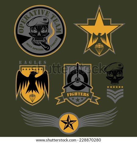 eagle and skull template for emblem set hawk logo vector illus stock photo © maryvalery