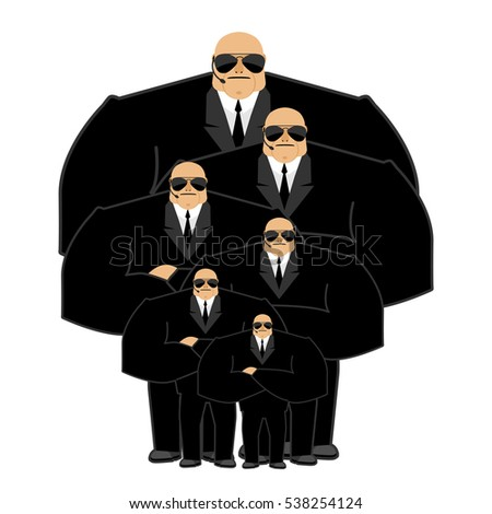 Bodyguard family. Black suit and hands-free. Security man. Prote Stock photo © popaukropa