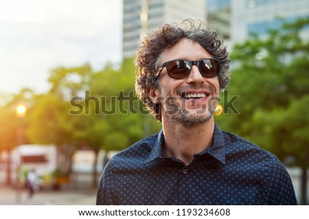 Portret knap bebaarde man zonnebril Stockfoto © deandrobot