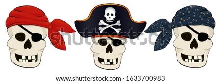 Pirates red Bandana cap isolated. Hat buccaneer. Bones and skull Stock photo © popaukropa