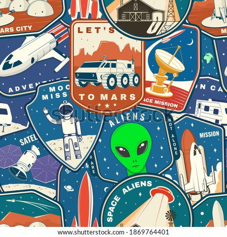 silhouette space symbol seamless pattern astronaut and ufo roc stock photo © popaukropa