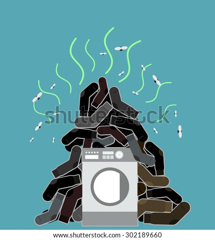 Big pile of dirty and smelly socks. Washing machine vector illus Stock photo © popaukropa