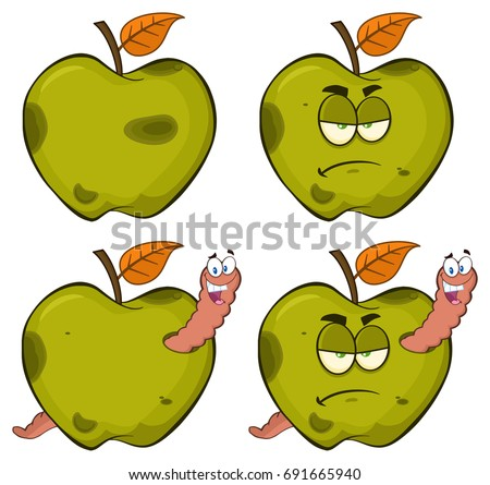 Happy Worm In A Rotten Green Apple Fruit Cartoon Mascot Character Design Stock photo © hittoon