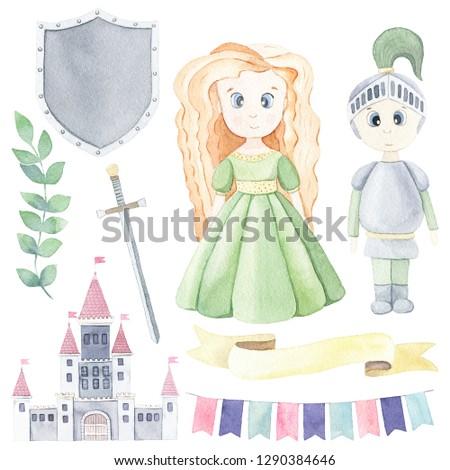 Príncipe princesa establecer escudo espada corona Foto stock © MaryValery
