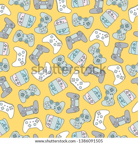 Joystick pattern seamless. Gamepad ornament. Game controller Vec Stock photo © popaukropa