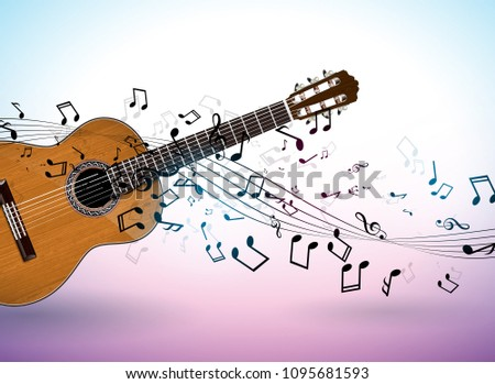 music banner design with acoustic guitar and falling notes on clean background vector illustration stock photo © articular