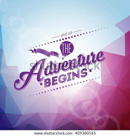 Adventure типографики дизайна воздушный шар Blue Sky баннер Сток-фото © articular