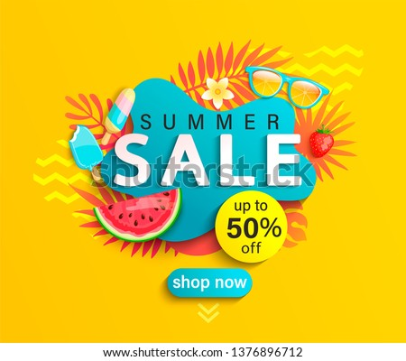 Abstract Hot Summer Sale 50% Discount Vector Background Illustration stock photo © SaqibStudio