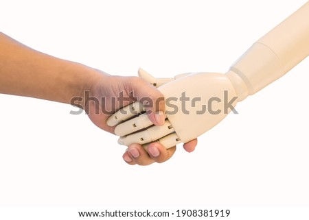 Cyborg handshake isolated. Robot iron hands. Artificial Intellig Stock photo © MaryValery