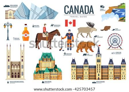 Vidék Kanada utazás vakáció tulajdonságok szett Stock fotó © Linetale