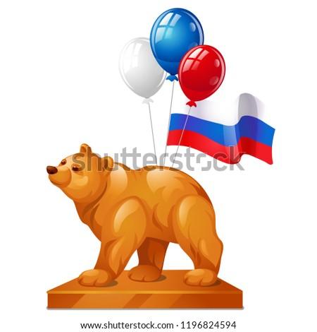 Beer standbeeld symbool macht kleurrijk ballonnen Stockfoto © Lady-Luck