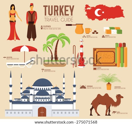 Stock photo: Country Turkey travel vacation guide of goods, place and feature. Set of architecture, fashion, peop