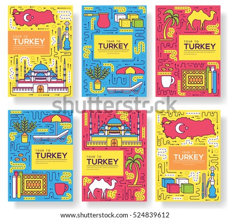 country turkey vector brochure cards thin line set travel template of flyear magazines posters b stock photo © linetale