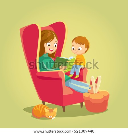 little girl and mother reads a book on the sofa vector isolated illustration stock photo © pikepicture