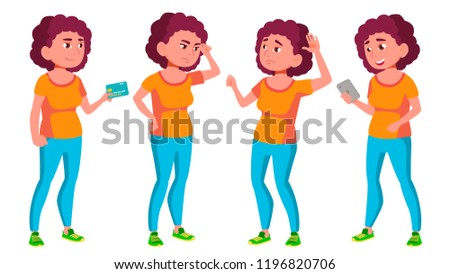 Fat Teen Girl Poses Set Vector. Beauty, Lifestyle. For Web, Poster, Booklet Design. Isolated Cartoon Stock photo © pikepicture