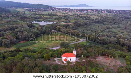 aerial picture from a small chapel in a hungarian village vonyarcvashegy near the famous lake balat stock photo © digoarpi