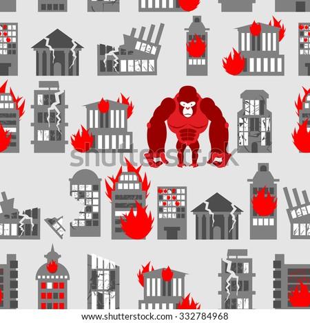 Enojado gorila destruido ciudad Foto stock © popaukropa