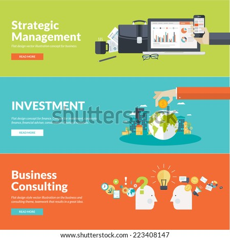 flat design concepts for business finance strategic management investment consulting teamwork stock photo © makyzz