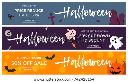 halloween sale banner illustration with tombstone pumpkins moon and flying bats on red night sky b stock photo © articular