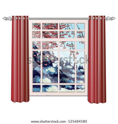 Venster Rood as bevroren bessen Stockfoto © Lady-Luck
