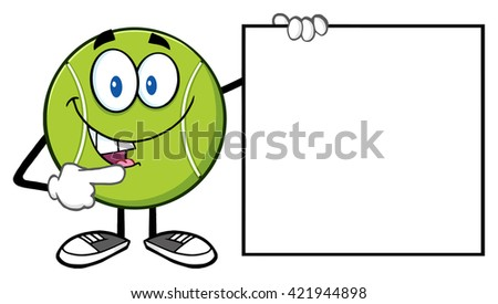 Talking Tennis Ball Cartoon Mascot Character Pointing To A Sign Tennis Club Stock photo © hittoon