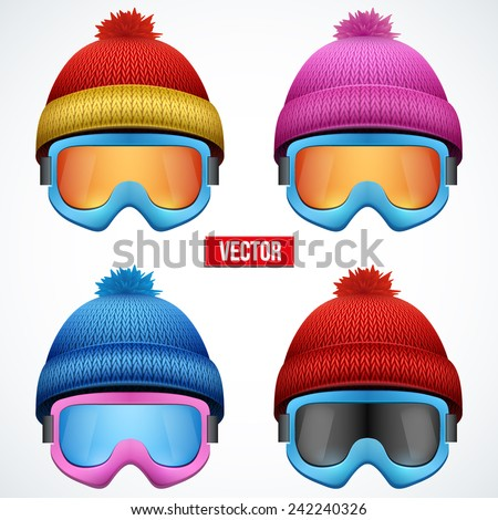 Set of colored goggles of the skier and the knitted hats with pompon isolated on white background. V Stock photo © Lady-Luck