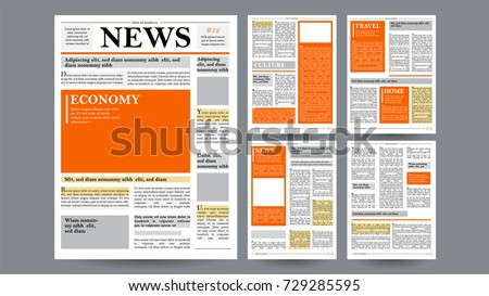 Newspaper Vector. With Text And Images. Daily Opening News Text Articles. Press Layout. Illustration Stock photo © pikepicture