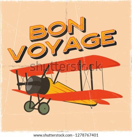 vintage airplane poster bon voyage quote biplane vector graphic label emblem retro plane badge d stock photo © jeksongraphics