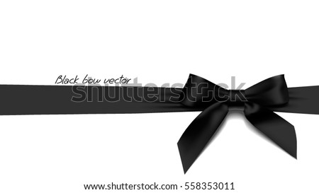 realistic black bow element for decoration gifts greetings holidays vector illustration stock photo © olehsvetiukha
