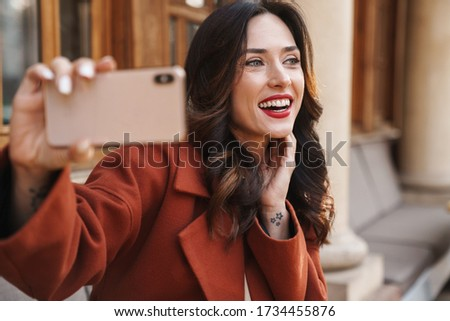 Foto stock: Imagem · feliz · mulher · sorrindo · foto · andar