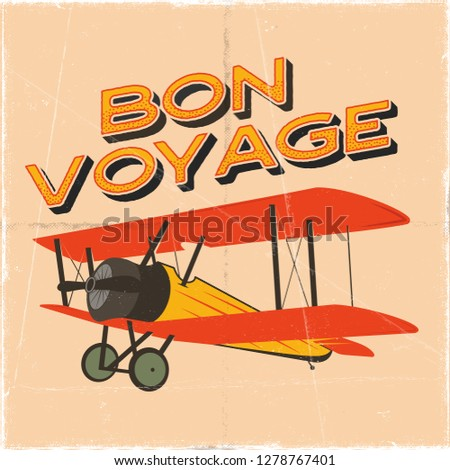 Flight poster in retro style. Bon voyage quote. Vintage hand drawn travel airplane design for t-shir Stock photo © JeksonGraphics