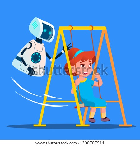 Robot Swinging Little Girl On Swing On Playground Vector. Isolated Illustration Stock photo © pikepicture