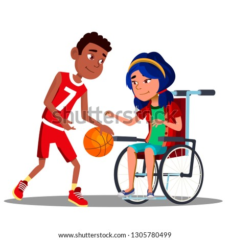 asian girl in wheelchair with afro american boy playing basketball together vector isolated illustr stock photo © pikepicture