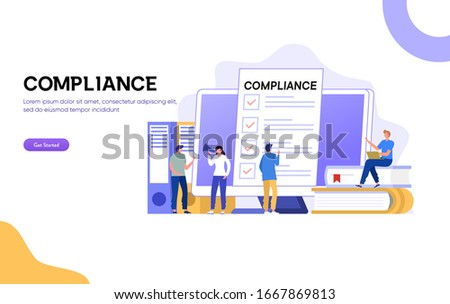 flat isometric vector landing page template of regulatory compliance stock photo © tarikvision
