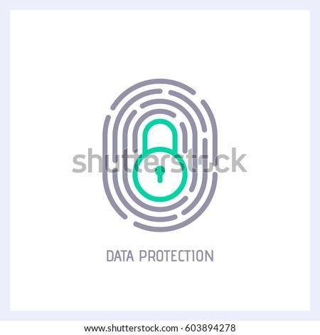 Impronte digitali icona lock segno personale Foto d'archivio © kyryloff