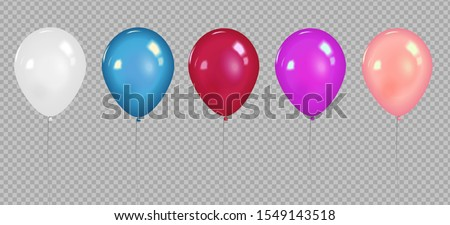 set of pink white transparent balloon isolated in the air party decorations for birthday annivers stock photo © bonnie_cocos