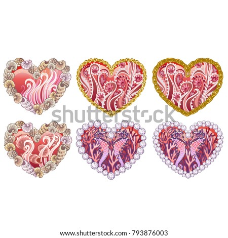 set of beautiful hearts with ornament of sea inhabitants shells precious stones isolated on white stock photo © lady-luck