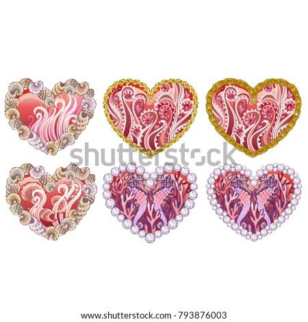 Conjunto belo corações ornamento mar conchas Foto stock © Lady-Luck