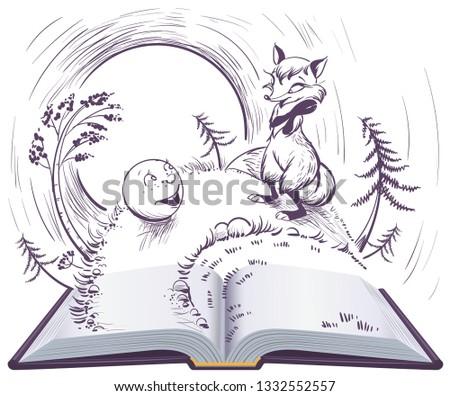 russian fairy tale bun open book illustration sly fox and bun on track stock photo © orensila